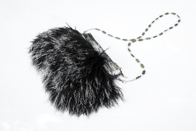 Black Clutch With Mongolian Fur