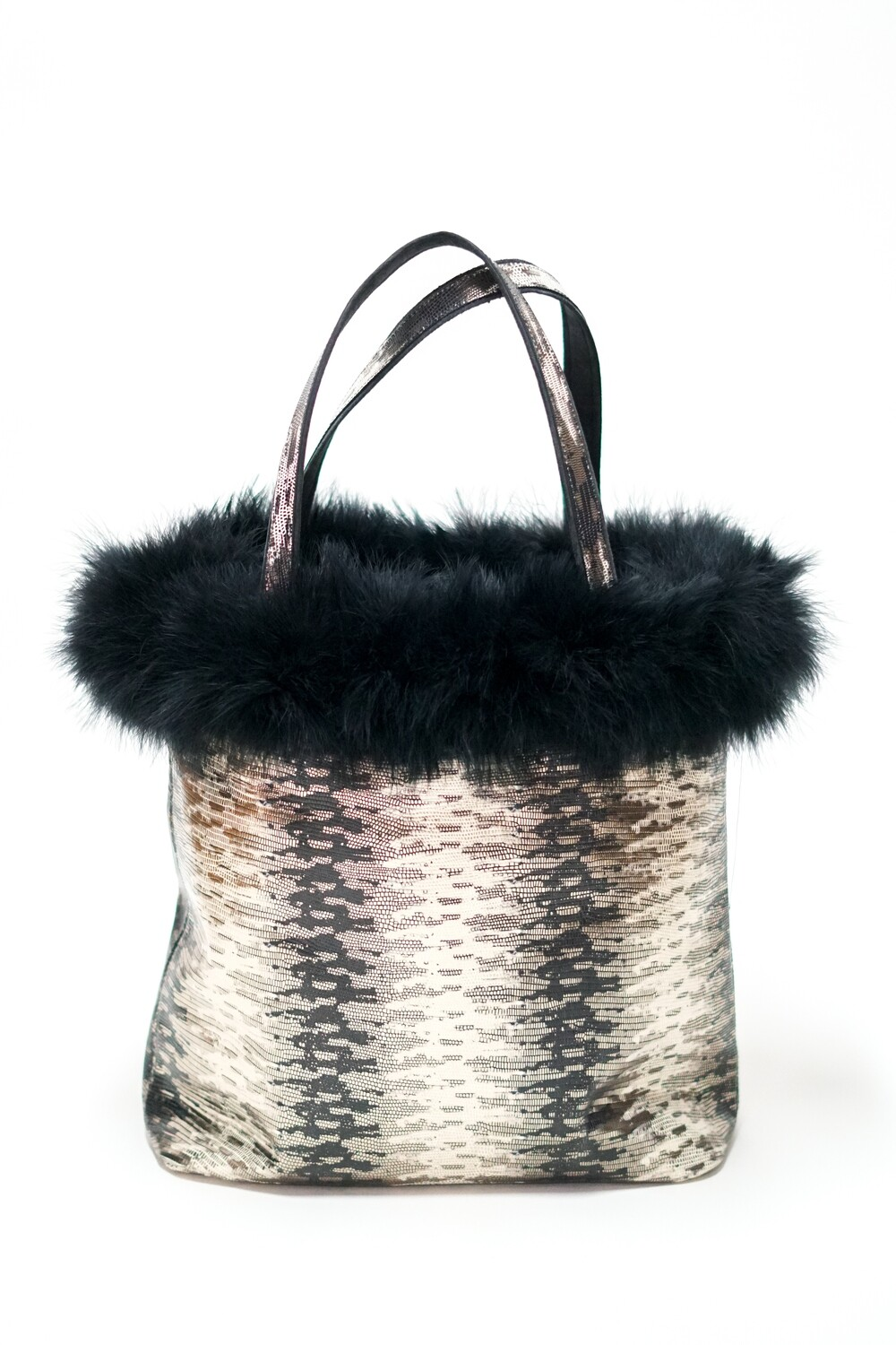 Marabout Feathers Printed Snakeskin on Cowhide Tote
