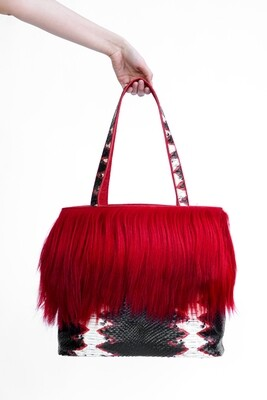 Long Hair Goat Fur Embossed Python on Cowhide Tote