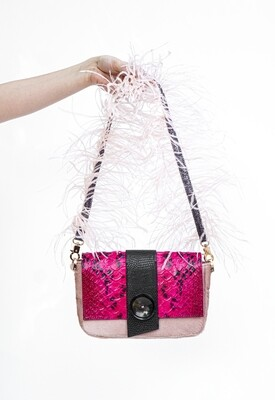 Pink Shoulder Bag With Ostrich Feathers