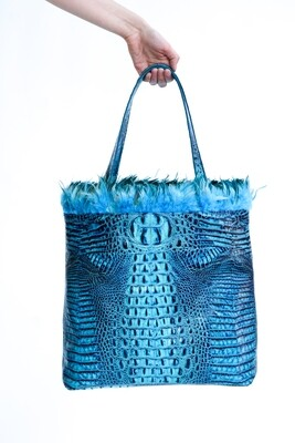 Embossed Blue Croc Leather Tote with Rooster Feathers