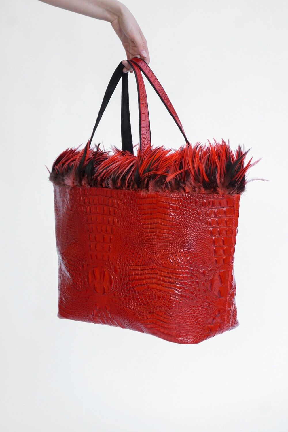 Embossed Red Croc Leather Tote