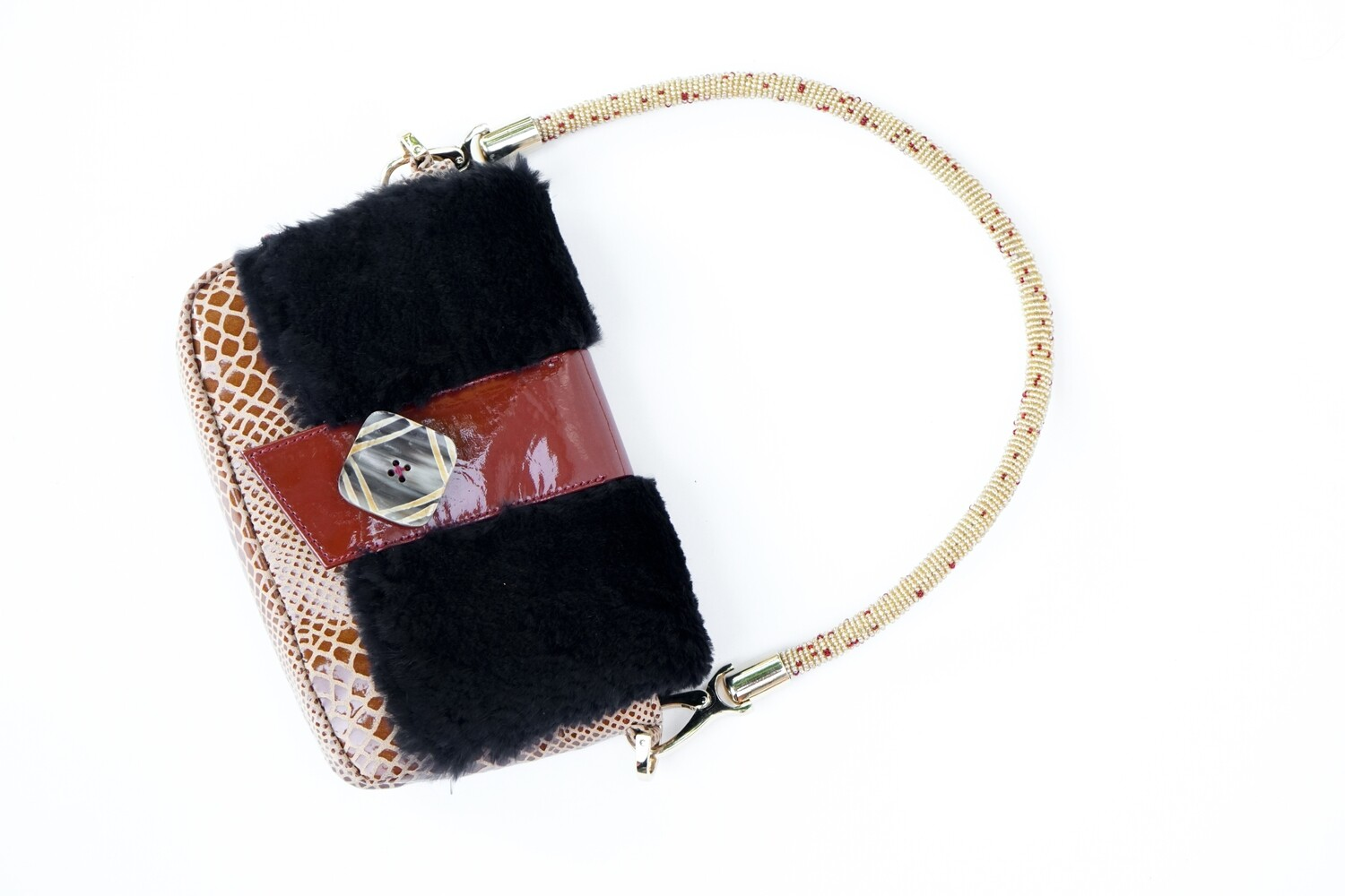 Black Fur Shoulder Bag