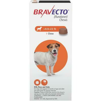 Bravecto  9.9-22 lb- Dog ($15 online rebate for 2)