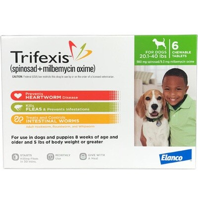 Trifexis 20.1-40lb, 6 pack ($10 online Rebate)