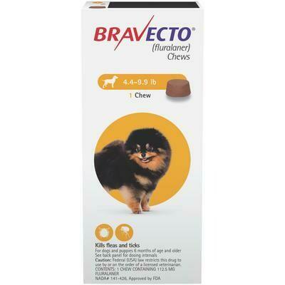 Bravecto 4.4-9.9lbs - Dog ($15 online rebate for 2)