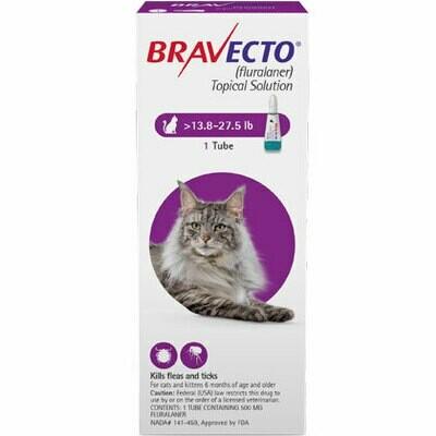 Bravecto 13.9-27.5 lb- Cat ($15 online rebate for 2)