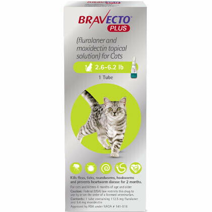Bravecto Plus 2.6-6.2 lb Cat ($15 online rebate for 2)