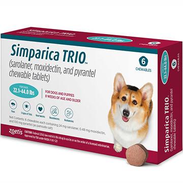 SIMPARICA TRIO™  22.1-44lb 6 pack- $40 in rewards