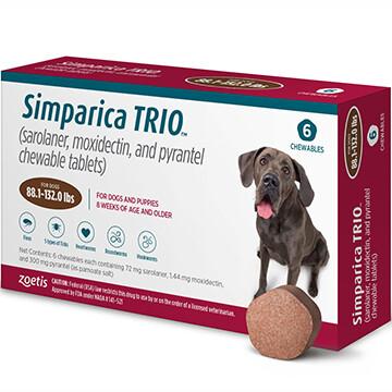 SIMPARICA TRIO™  88.1-132lb 6 pack- $40 in rewards