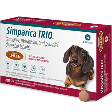 SIMPARICA TRIO™  11.1-22lb 6 pack- $40 in rewards