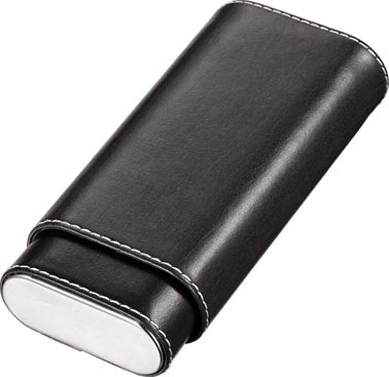 Visol Naturale Black Leather Crushproof Cigar Case