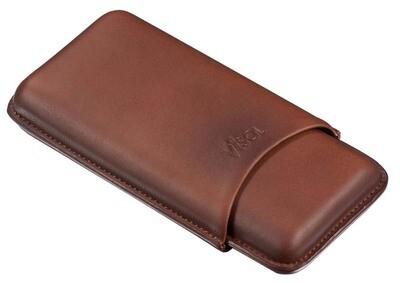 Visol Legend Brown Genuine Leather Cigar Case - Holds 3 Cigars