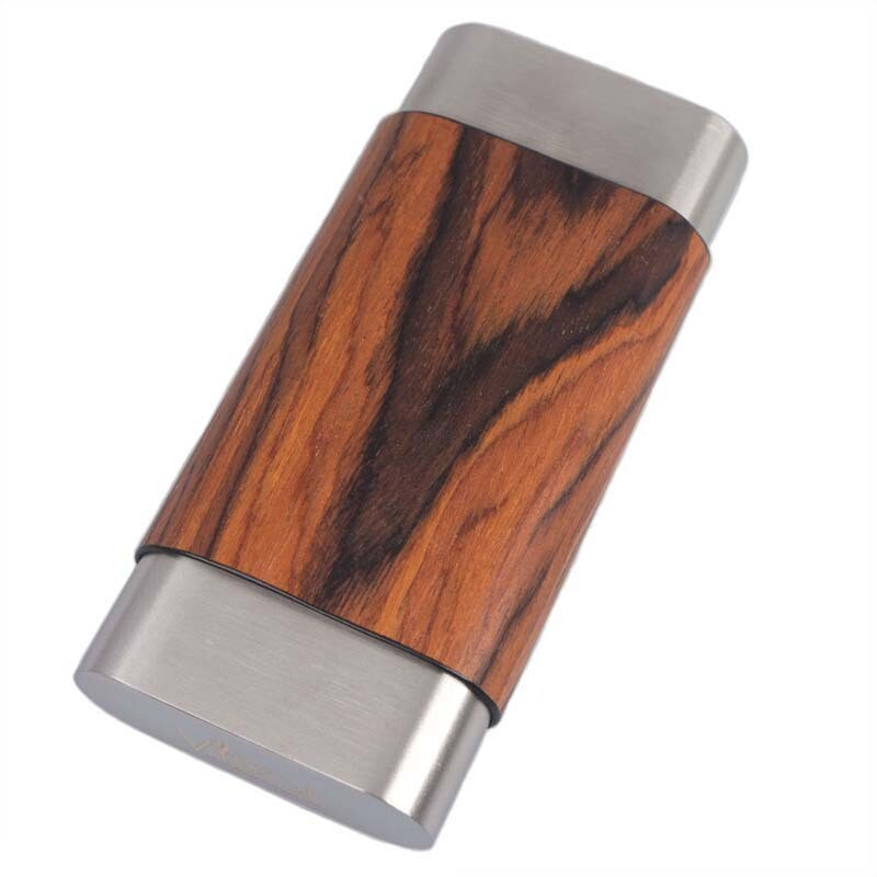 Visol Terran Natural Wood & Stainless Steel Cigar Case