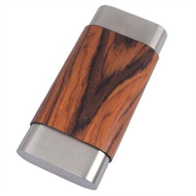 Visol Terran Natural Wood & Stainless Steel Cigar Case