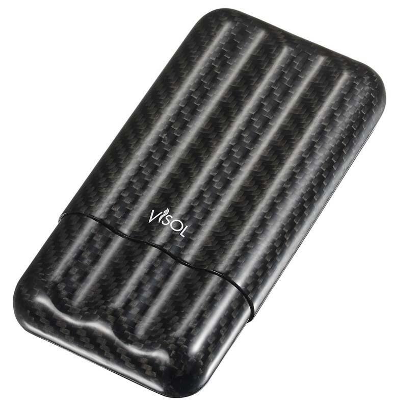 Visol Night II Carbon Fiber Larger Cigar Case - 3 Finger