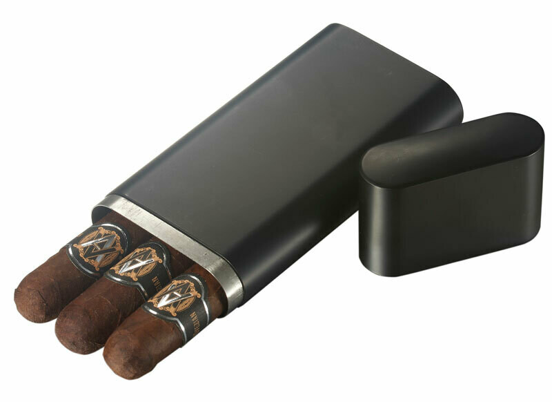 Visol Prato Black Matte 3 Finger Cigar Case