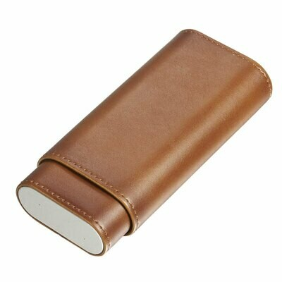 Visol Naturale Brown Leather Cigar Case with Interior Cedar Lining