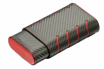 Visol Black Carbon Fiber Patterned Cigar Case - Holds 3 Cigars