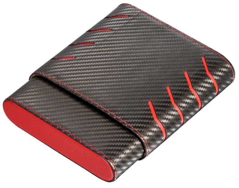 Visol Black and Red Carbon Fiber pattern 6 Finger Cigar Case