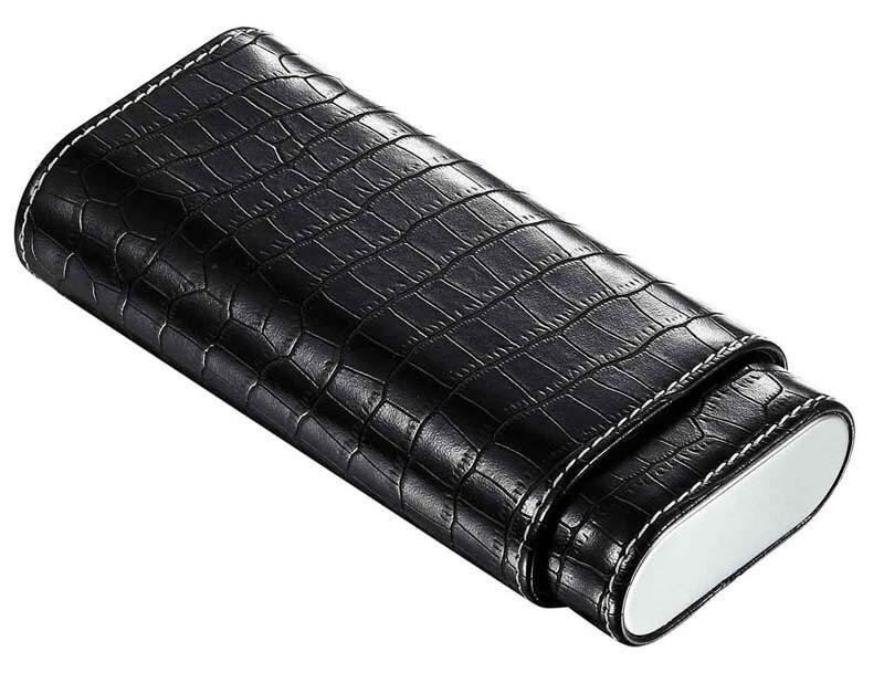 Visol Draco II Black Leather Crocodile Pattern Cigar Case