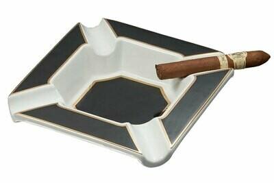Visol Festus Large Cigar Ashtray - Matte Black and Gold