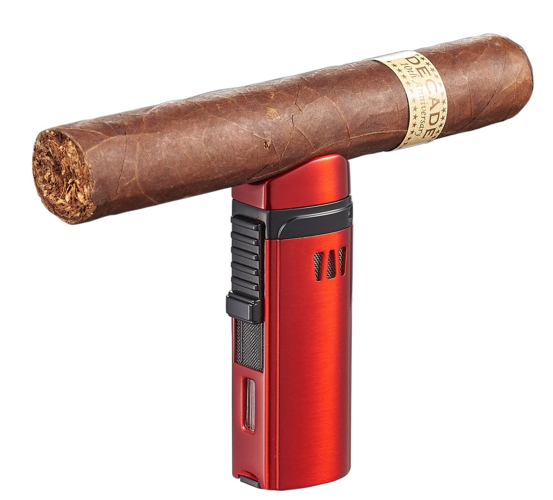Visol Denali Red Triple Torch Lighter with Cigar Rest
