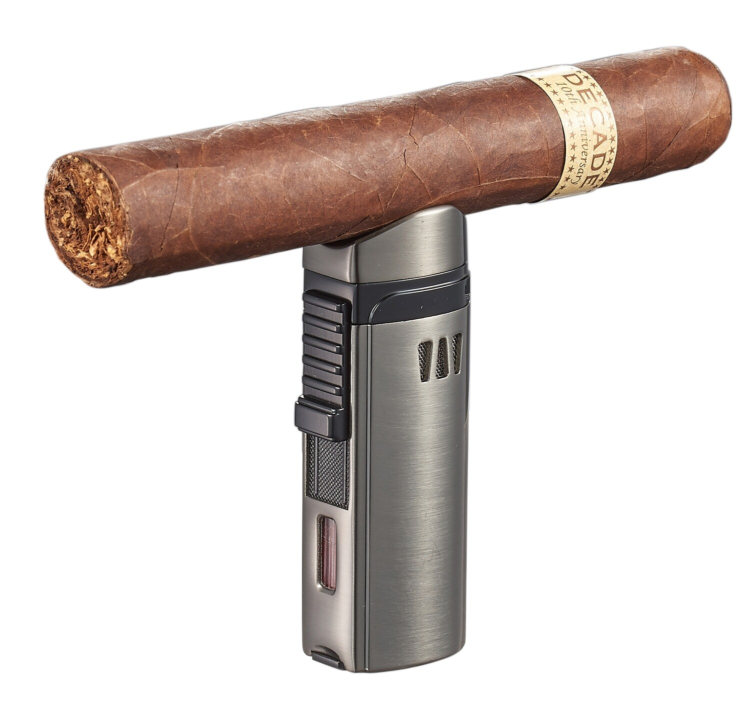Visol Denali Gunmetal Triple Torch Lighter  with Cigar Rest