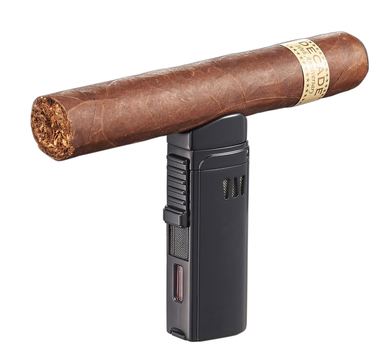 Visol Denali Black Triple Torch Lighter with Cigar Rest