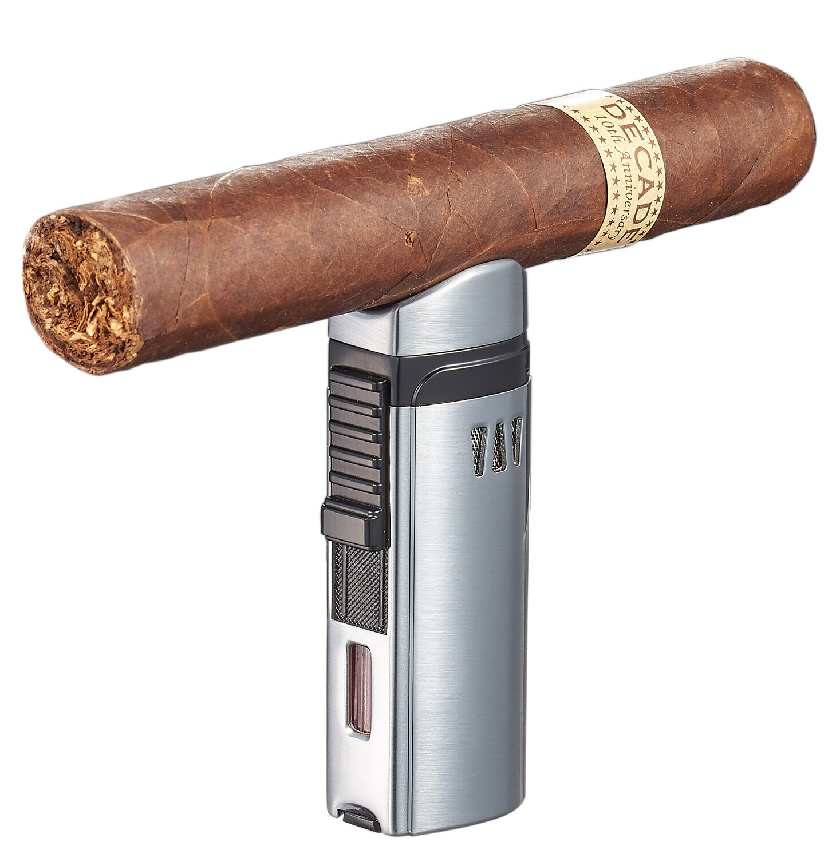Visol Denali Silver Triple Torch Lighter  with Cigar Rest