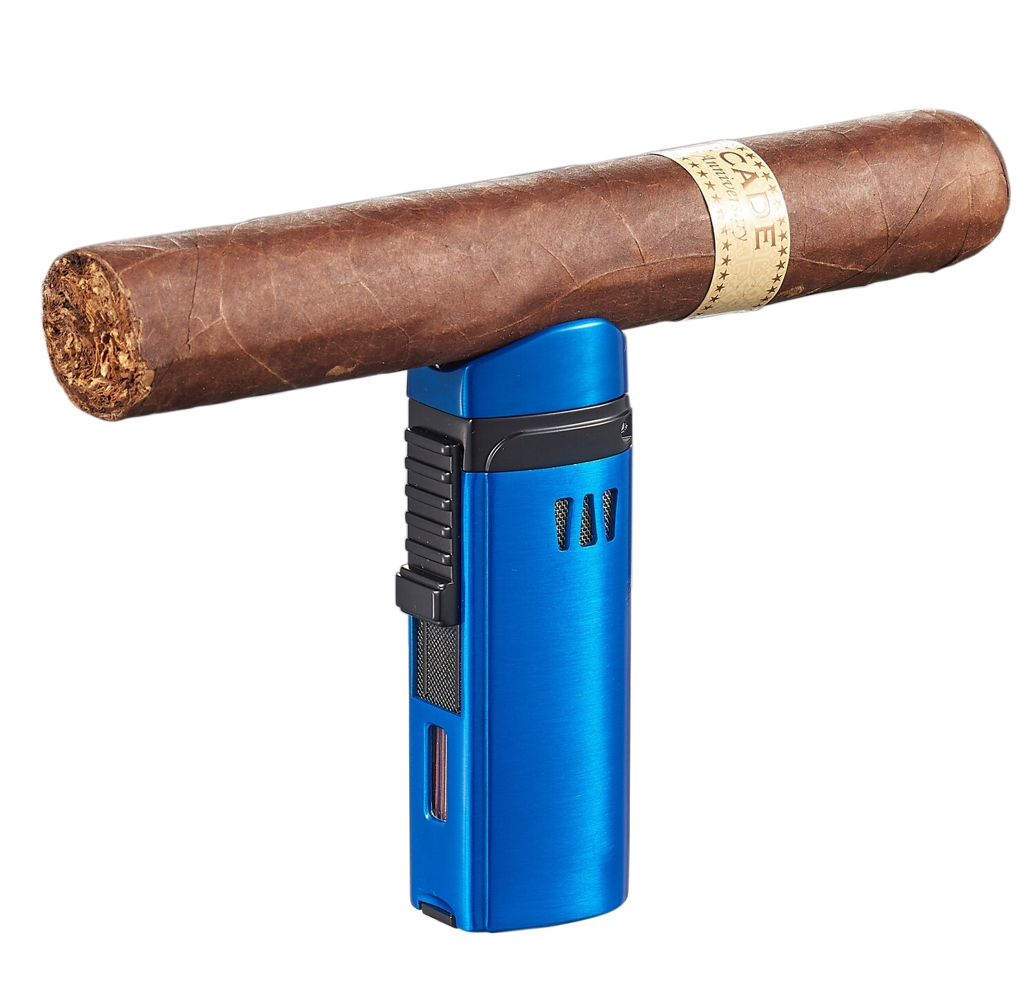 Visol Denali Blue Triple Torch Lighter with Cigar Rest