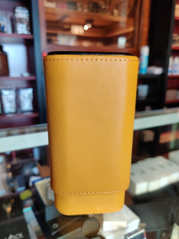 Visol  Yellow Burgos Leather Cigar Case