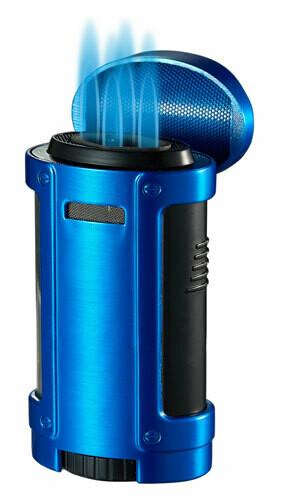 Visol Rhino Quad Flame Lighter With Cigar Rest Blue