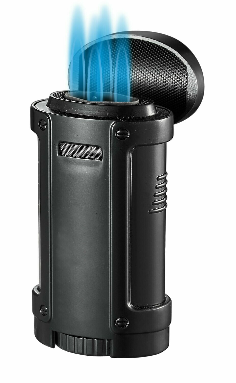 Visol Rhino Quad Flame Lighter With Cigar Rest Black