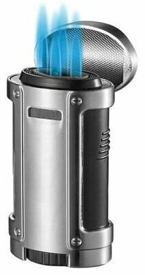 Visol Rhino Quad Flame Lighter With Cigar Rest Silver