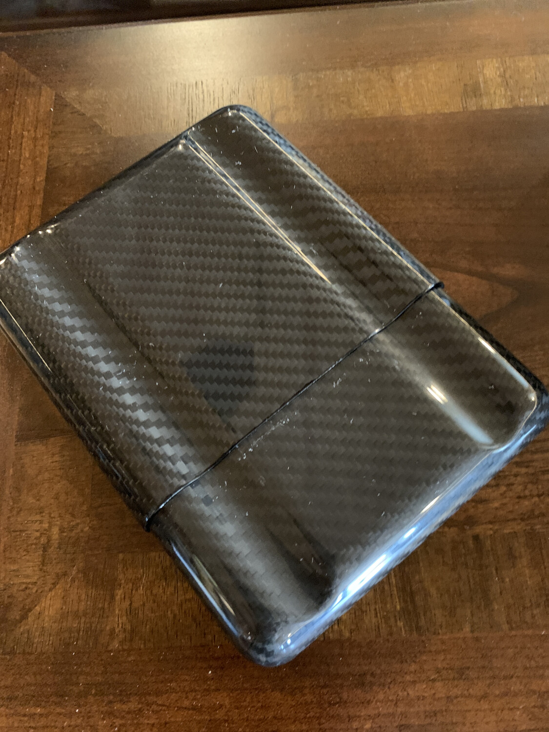 Black Carbon Fiber 5 Cigars Case