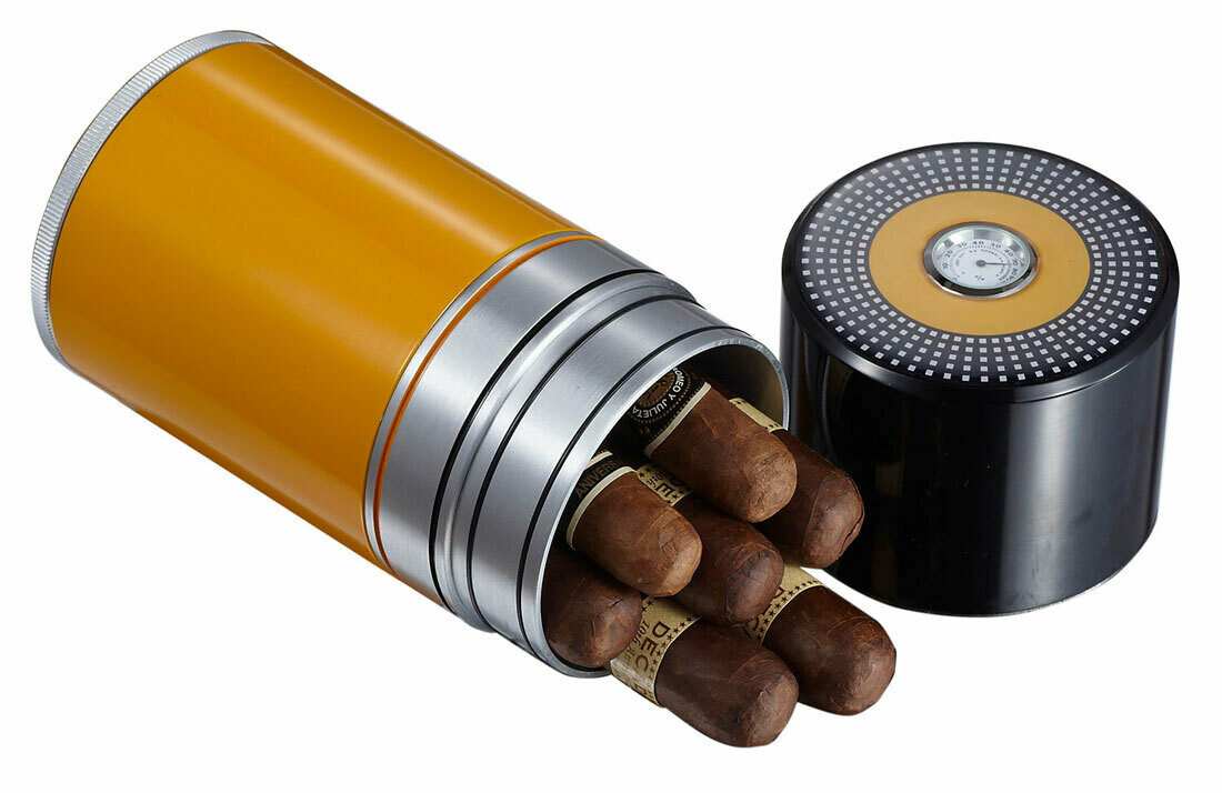 Visol Big Joe Yellow Lacquer 7 Cigar Travel Humidor