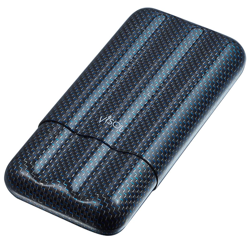 Blue Carbon Fiber 3 Cigar Case