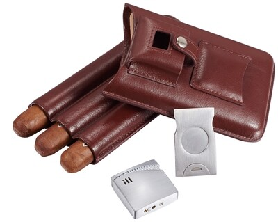 Visol Renly Brown Leather Case With Lighter And Cutter