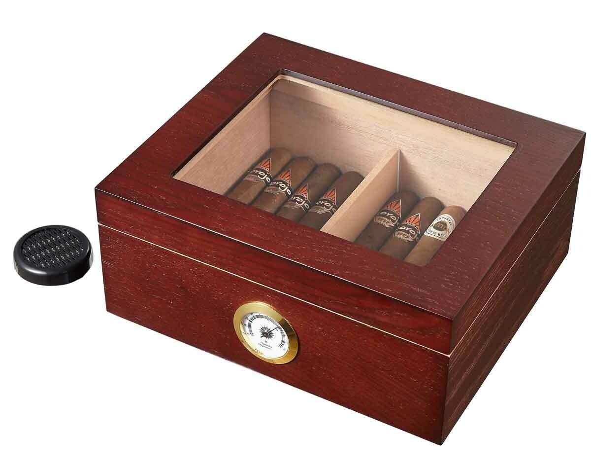 Visol Santa Clara Glass Top with Rosewood Finish Cigar Humidor - Holds 50 Cigars