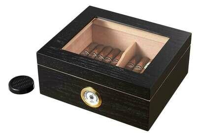 Visol Santa Clara Glass Top with Black Matte Finish Cigar Humidor - Holds 50 Cigars