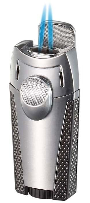 Visol Meru Dual Torch Cigar Lighter - Silver
