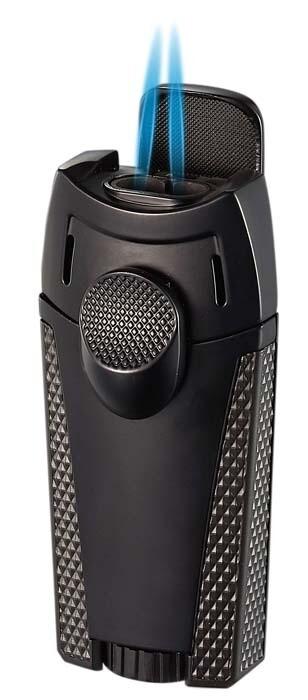 Visol Meru Dual Torch Cigar Lighter - Black