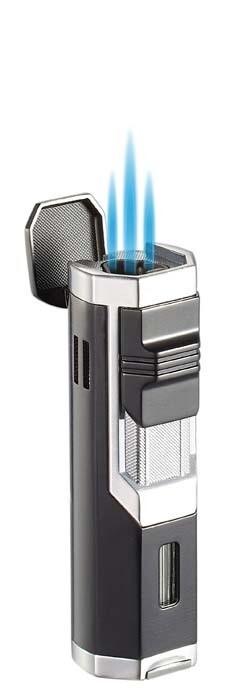 Visol Andes Triple Torch Cigar Lighter - Silver