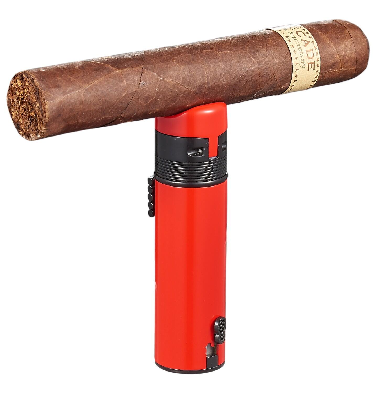Visol Saddle Triple Torch Cigar Lighter - Red