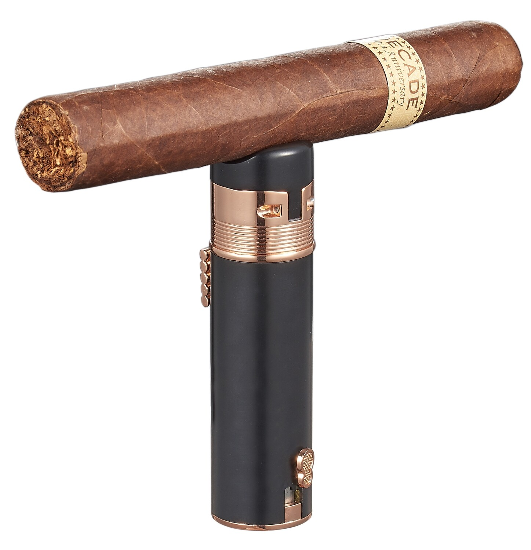 Visol Saddle Triple Torch Cigar Lighter - Black and Rose Gold