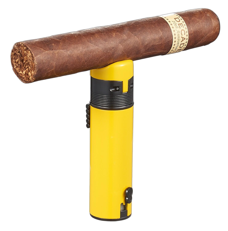 Visol Saddle Triple Torch Cigar Lighter - Yellow