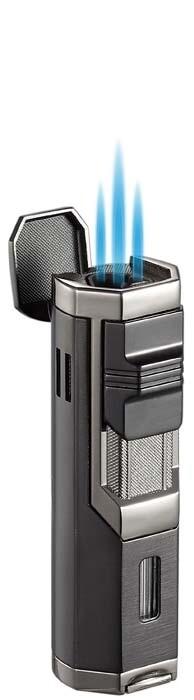 Visol Andes Triple Torch Cigar Lighter - Gunmetal and Black