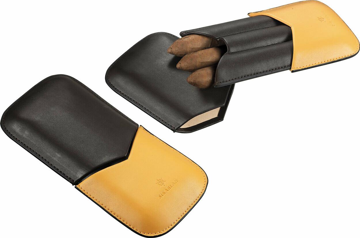 3 Finger Cigar Case Yellow Black