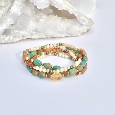Turquoise & Citrine Mixed Stone Wrap